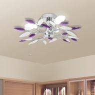 Lampa sufitowa, plafon, białe i fioletowe listki 3 żarówki E14