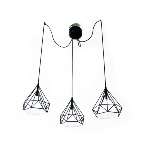 Lampa wisząca 120x80cm Milagro Triangolo czarno-biała 5902693731634