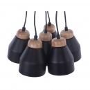 Lampa wisząca czarna 6 kloszy CESTOS