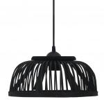 Lampa wisząca, czarna, bambusowa 40 W 30x12 cm, E27, półkolista