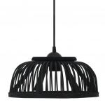 Lampa wisząca, czarna, bambusowa, 40 W, 34x14,5 cm, E27