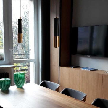 Lampa wisząca Step into design Golden Pipe-1 czarno-złota