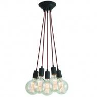 Lampa wisząca Modern 5 Lampex czarno-czerwona