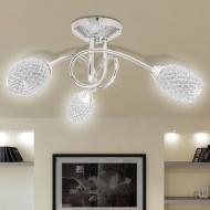 Lampa wisząca z 3 kloszami z akrylowych kryształków biała
