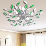 Lampa wisząca z akrylowymi kryształowymi liśćmi zieleń+biel