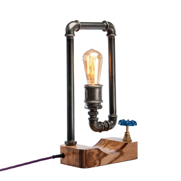 Lampka stołowa ręcznie robiona Hekla Zebrano Custom woods CL-006