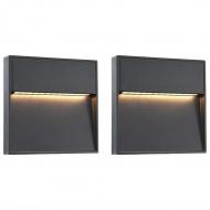 Lampy ścienne zewnętrzne LED, 2 szt., 3 W, czarne, kwadratowe