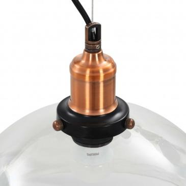 Lampy wiszące, 2 szt., przezroczyste, okrągłe, 30 cm, E27