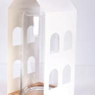 Latarnia Dom 40x17x17 cm NORDIFRA biała
