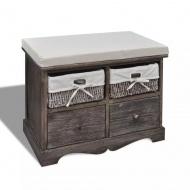 Ławka drewniana z 4 szufladami oraz poduszką (brązowa)
