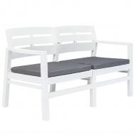 Ławka ogrodowa z poduszkami, 2-os., 133 cm, plastik, biała