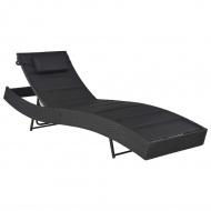 Leżak, polirattan i textilene, czarny