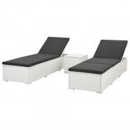 Leżaki ze stolikiem, 2 szt., polirattan, białe