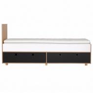 Łóżko 205,5x45 Durbas Style Kółko Krzyżyk czarny mat tablicowy