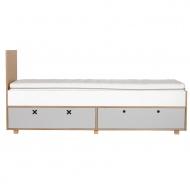 Łóżko 205,5x45 Durbas Style Kółko Krzyżyk szare