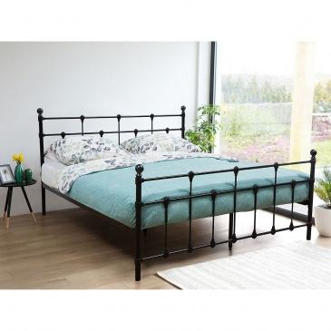 łóżko Czarne 180 X 200 Cm Metalowe Ze Stelażem Lynx