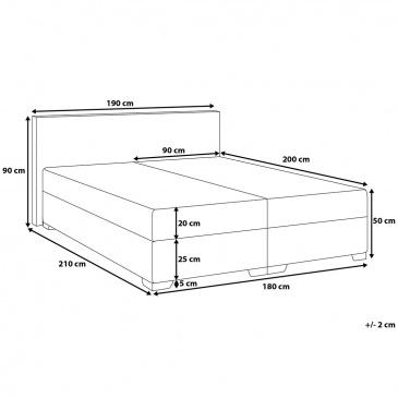łóżko Kontynentalne 180x200 Cm Skóra Ekologiczna Silvano Czarne