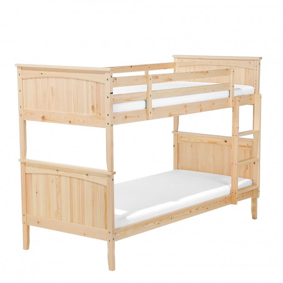 łóżko Piętrowe Drewniane Jasnobrązowe 90 X 200 Cm Virgilio Blmeble