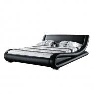 Łóżko wodne skórzane czarne 180 x 200 cm Astro