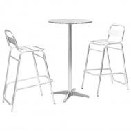 Meble barowe z okrągłym stolikiem, 3 szt., srebrne, aluminium