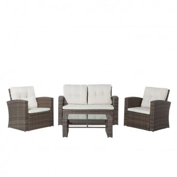 Meble Ogrodowe Rattanowe Tarasowe Stół Sofa 2 Fotele Eufemia