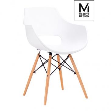 MODESTO fotel FORO biały - podstawa bukowa