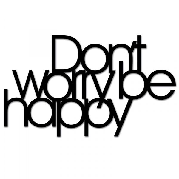 Napis 3D na ścianę DekoSign DON`T WORRY BE HAPPY czarny DWBH1-1