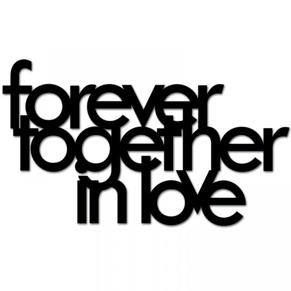 Napis 3D na ścianę DekoSign FOREVER TOGETHER IN LOVE czarny FTIL1-1