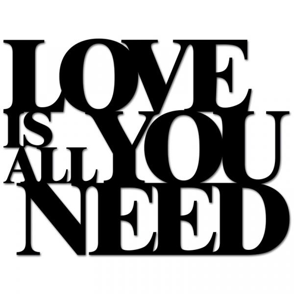 Napis 3D na ścianę DekoSign LOVE IS ALL YOU NEED czarny LIAYN1-1