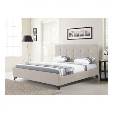 Nowoczesne łóżko Tapicerowane Ze Stelażem 180x200 Cm Beżowe Cinquanta Blmeble