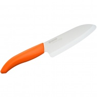 Nóż szefa kuchni ceramiczny 14cm Kyocera Santoku biały/pomarańczowa rączka
