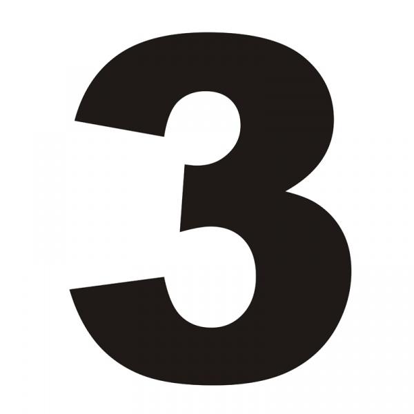 Numer na dom DekoSign 3 czarny TROJKA1-1
