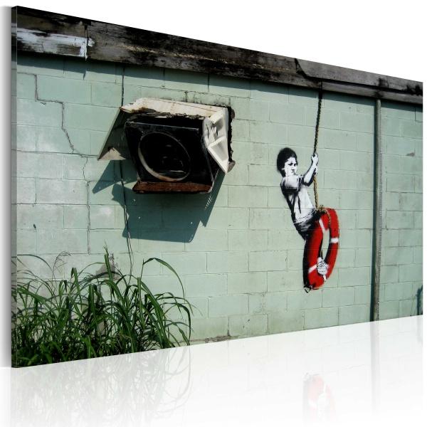 Obraz - Chłopiec na huśtawce (Banksy) (60x40 cm) A0-N1797