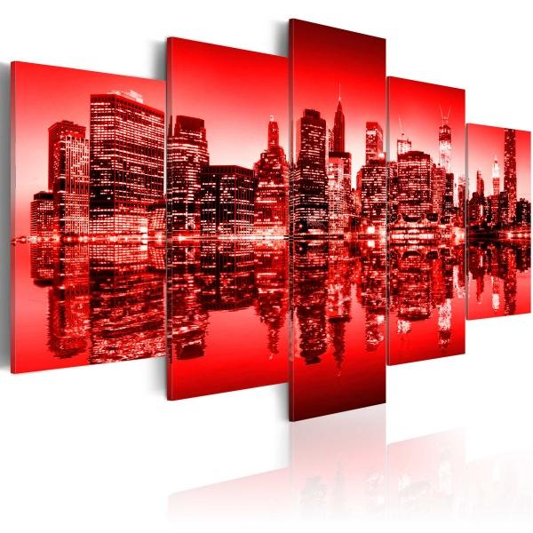Obraz - Czerwona poświata nad Nowym Jorkiem - 5 częsci (100x50 cm) A0-N1830