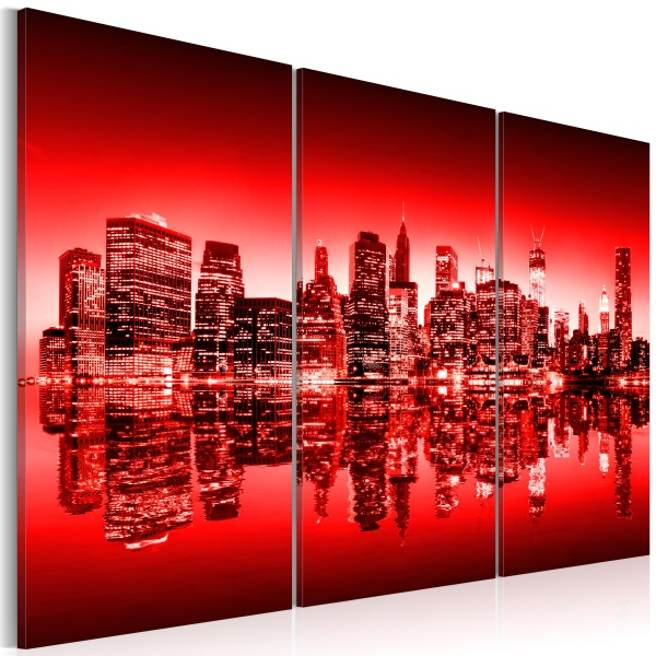 Obraz - Czerwona poświata nad Nowym Jorkiem (60x40 cm) A0-N1822