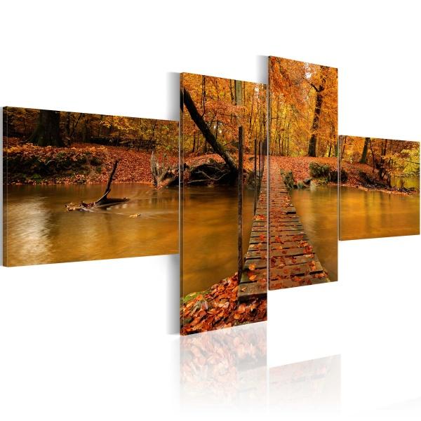 Obraz - Kładka przez leśny strumyk (100x45 cm) A0-N1562