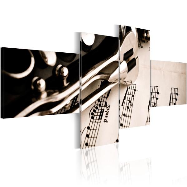 Obraz - Klarnet i nuty (100x45 cm) A0-N1506