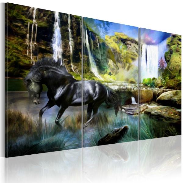 Obraz - Koń na tle błękitnego wodospadu (60x40 cm) A0-N1662
