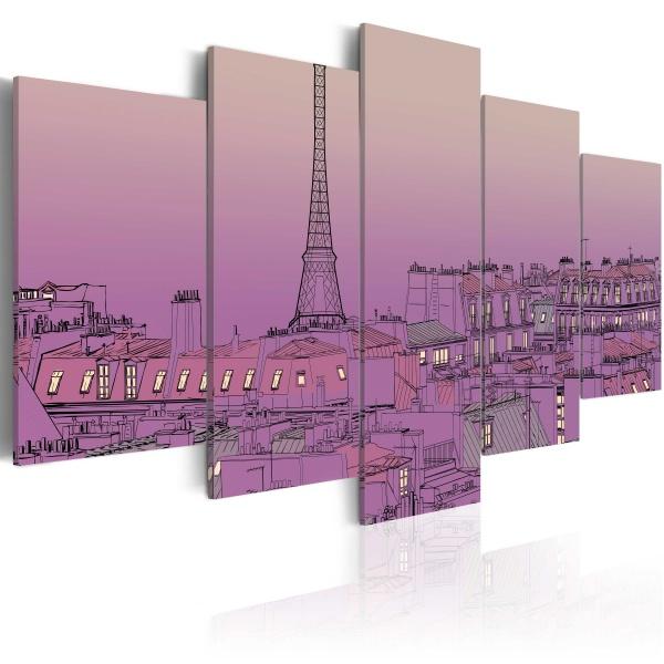 Obraz - Lawendowy wschód słońca nad Paryżem (100x50 cm) A0-N1774