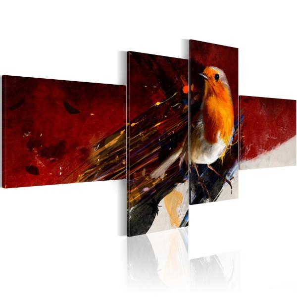 Obraz - Malutki ptaszek na czterech częściach (100x45 cm) A0-N1441