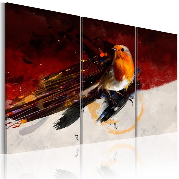 Obraz - Mały ptaszek na czerwono-białym tle (60x40 cm) A0-N1440