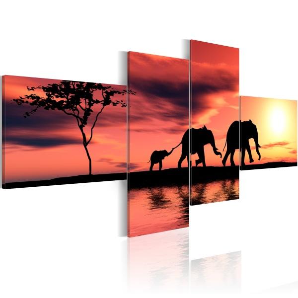 Obraz - Mama, tata i słoniątko (100x45 cm) A0-N1547