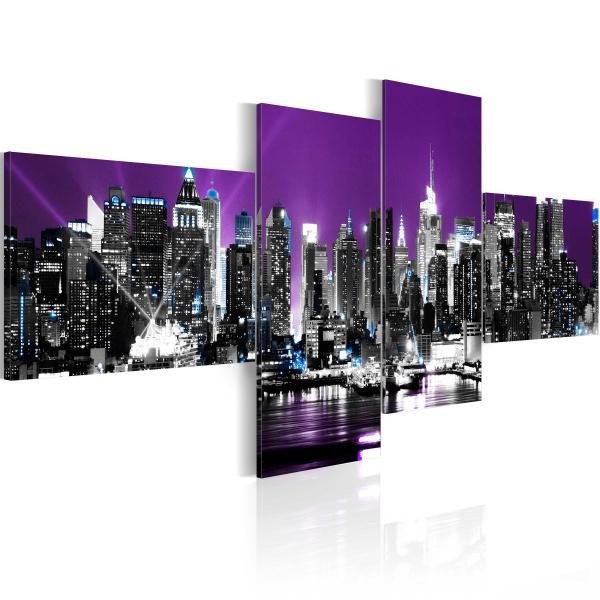Obraz - Nowy Jork na fioletowym tle (100x45 cm) A0-N1429