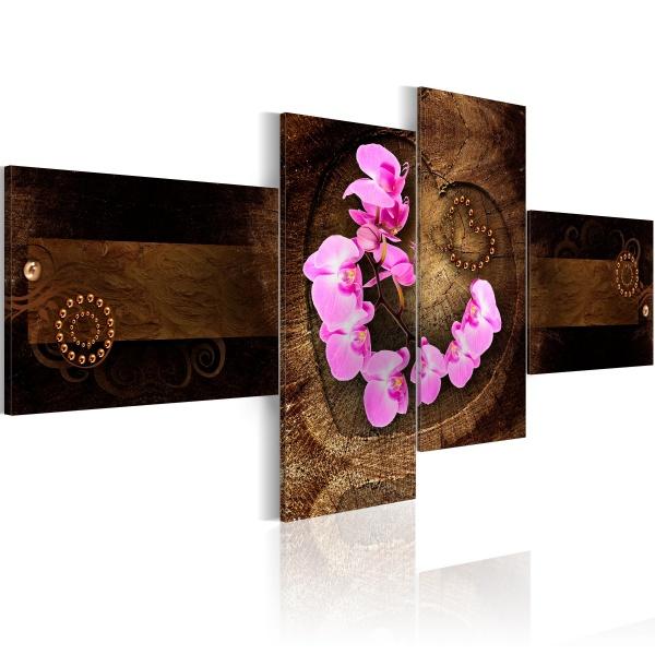 Obraz - Orchidea i drewno (100x45 cm) A0-N1647
