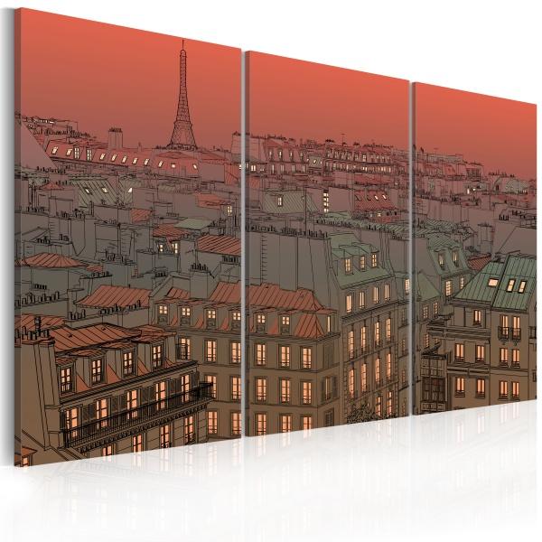 Obraz - Paryska Wieża Eiffla na tle zachodzącego słońca (60x40 cm) A0-N1768