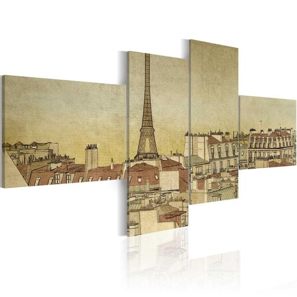 Obraz - Paryski szyk w wydaniu Retro (100x45 cm) A0-N1780