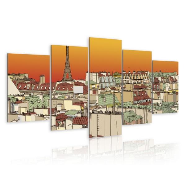 Obraz - Paryskie niebo w kolorze pomarańczy (100x50 cm) A0-N1771