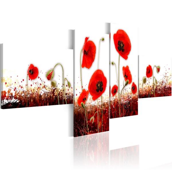 Obraz - Pole czerwonych maków na białym tle (100x45 cm) A0-N1427