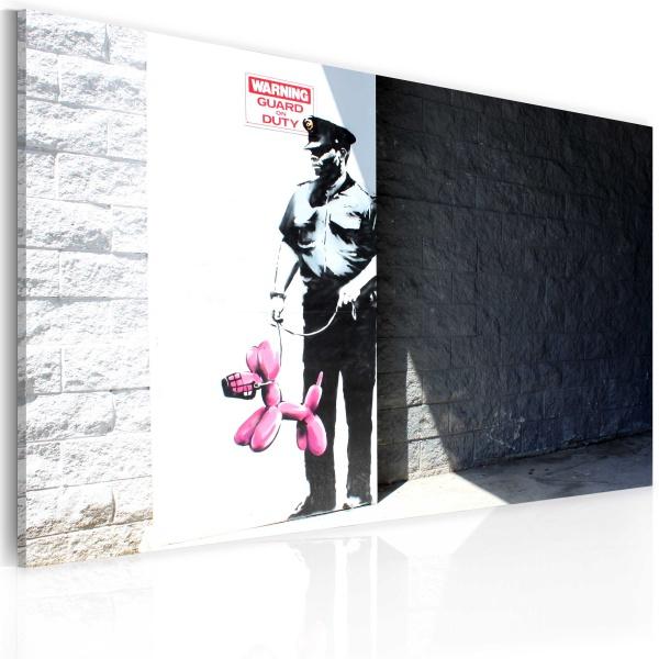 Obraz - Policjant i różowy pies (Banksy) (60x40 cm) A0-N1810