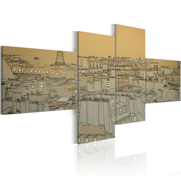 Obraz - Ponad dachami Paryża (Retro) (100x45 cm) A0-N1773